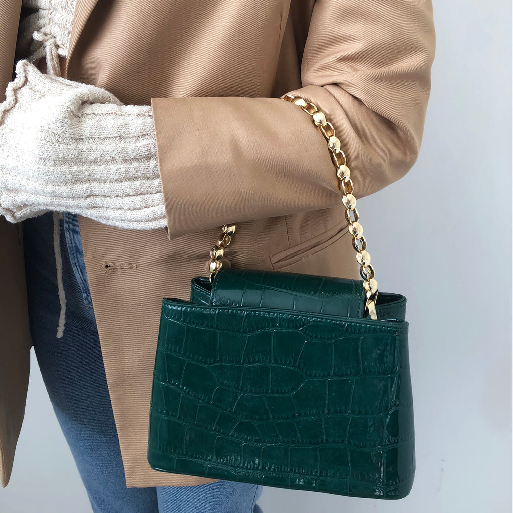 Green Mini Croc Handle Crossbody Bag