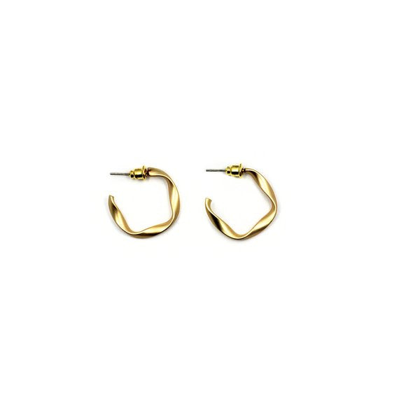 Matte Gold Wavy Hoop Earrings - Serena