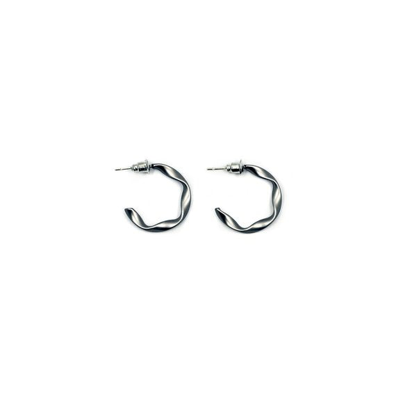 Matte Silver Wavy Hoop Earrings - Serena