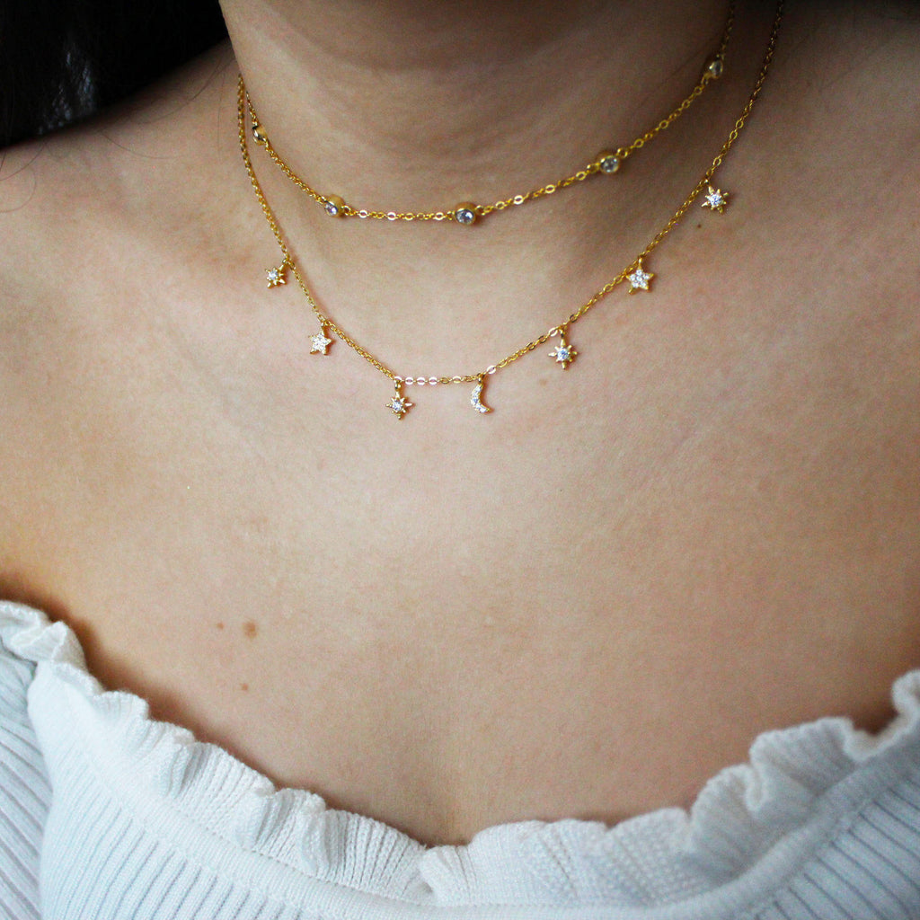 Gold Cubic Zirconia Choker & Stargazing Necklace Two Piece Set Mei Mi Studio