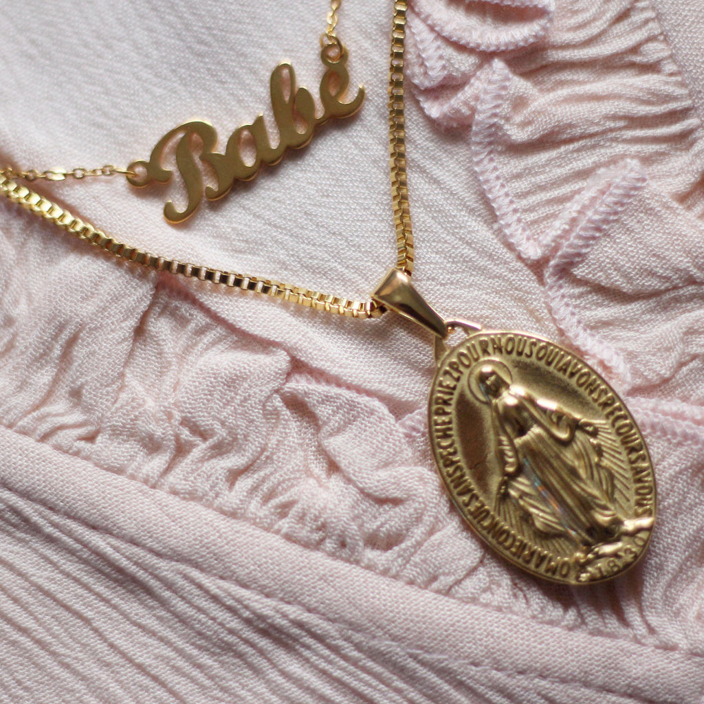 Gold Religious Mary Medallion & 'Babe' Necklace two piece set Mei Mi Studio