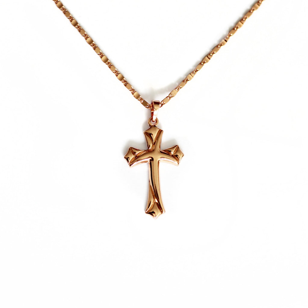Rose Gold Symbolic Cross Necklace Mei Mi Studio