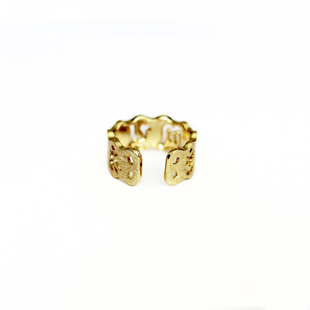 Zodiac Astrology Ring Gold Plated Vintage