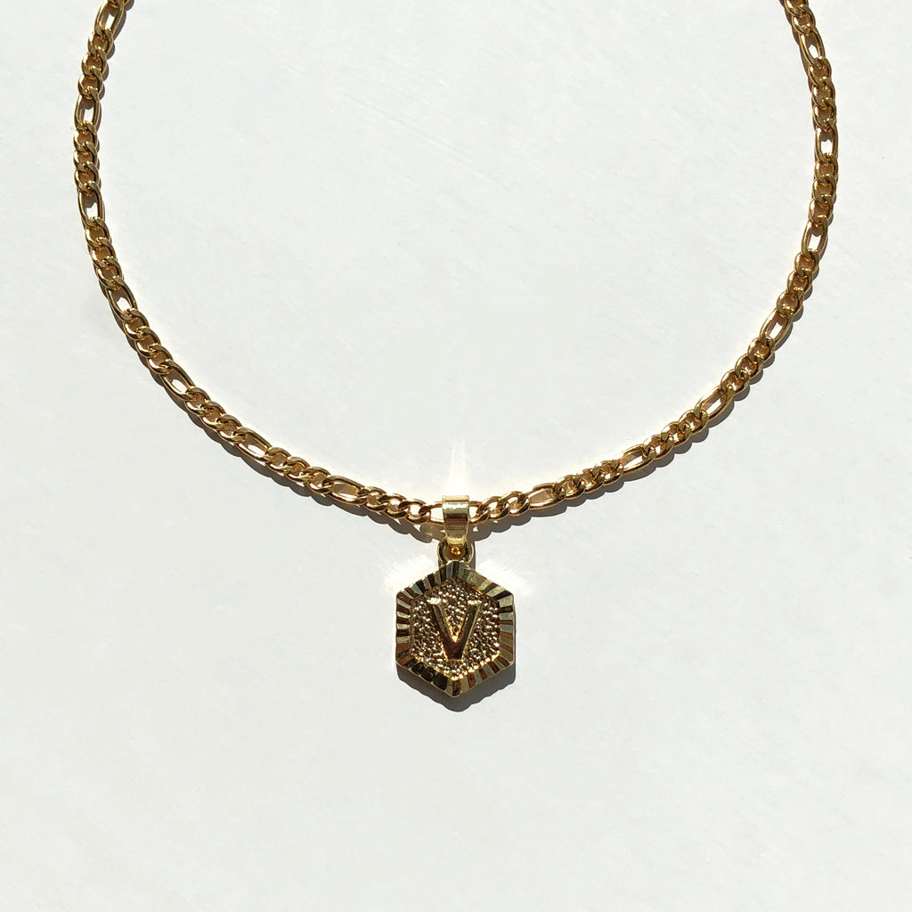 Geometric Initial Pendant Necklace