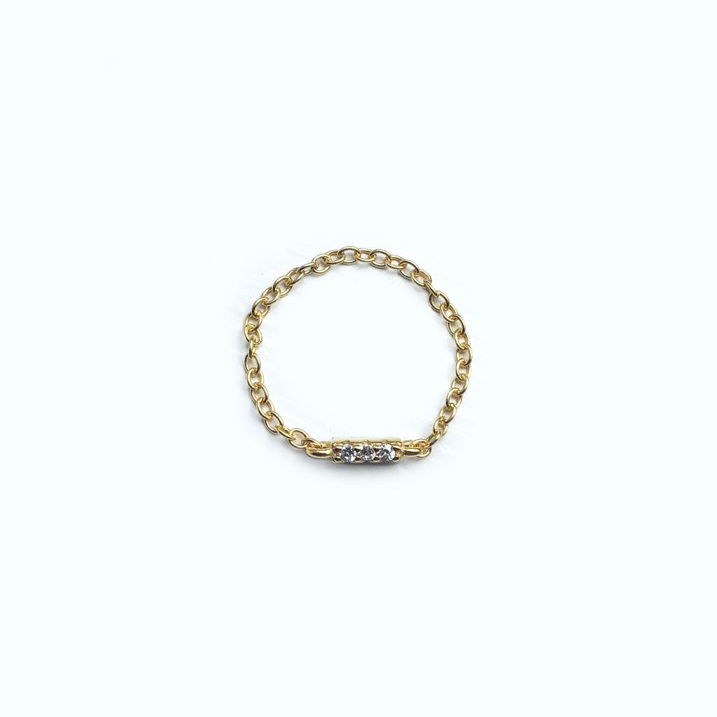 Gold Vermeil Paved Chain Ring - Luna