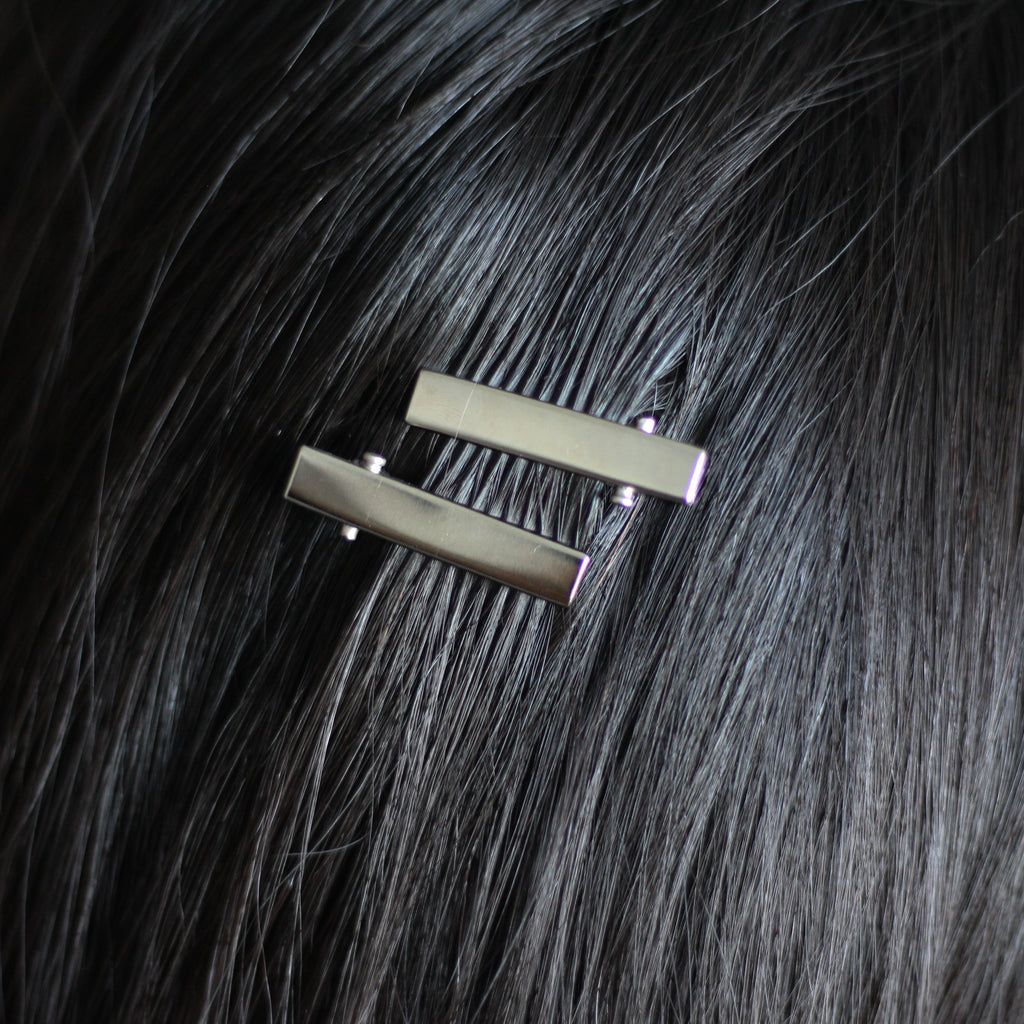 Mini Silver Hair Clips