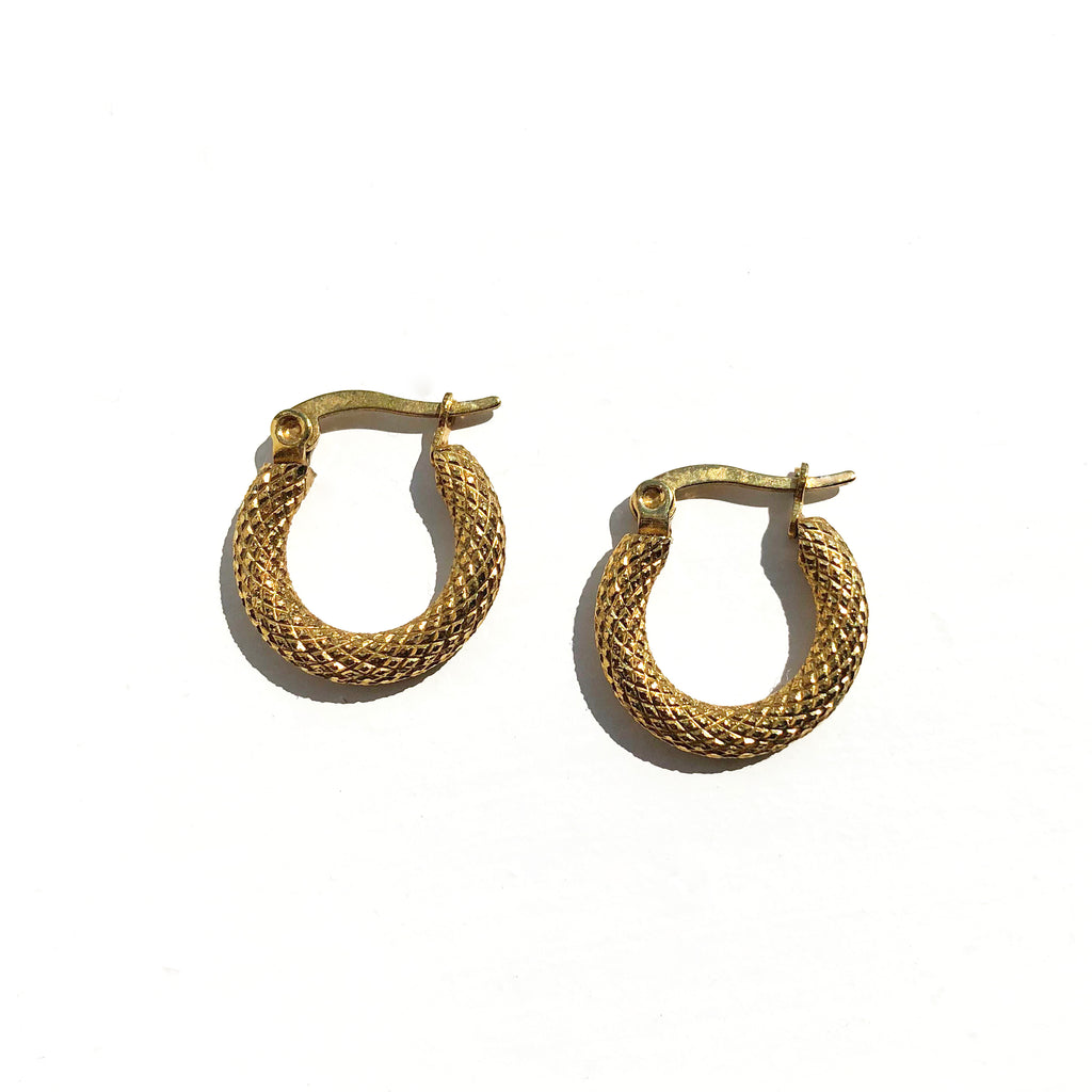 Mini Textured Hoop Earrings - Suede