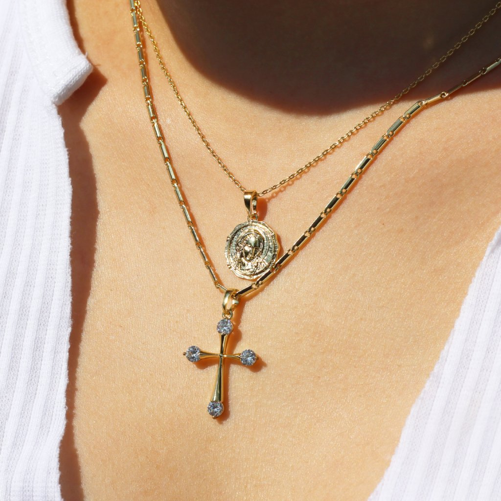 Cubic Zirconia Cross Pendant Necklace Mei Mi Studio
