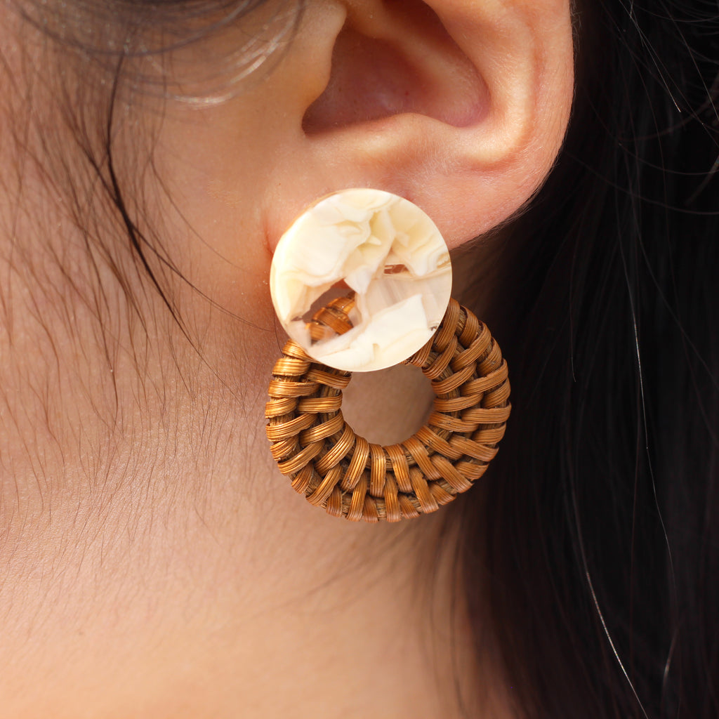Weave Round Circle Acrylic Stud Earrings worn