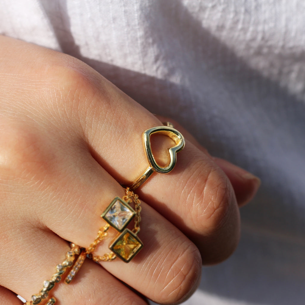 Gold Open Heart Ring Mei Mi Studio