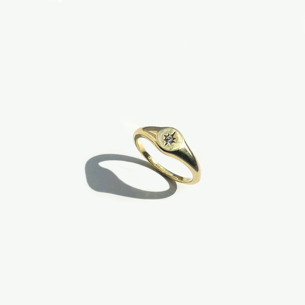 Gold Vermeil Cubic Zirconia Star Signet Ring - Orion