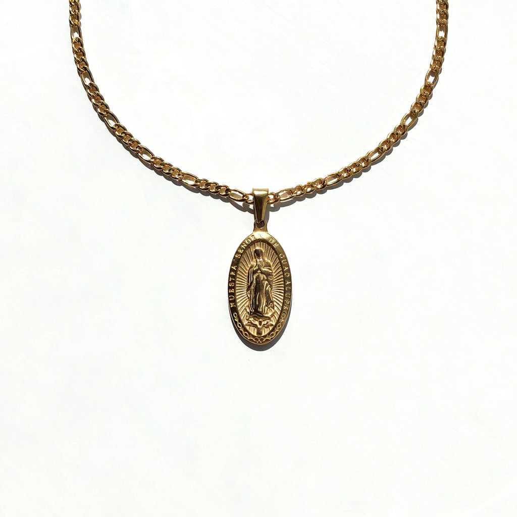 Religious Virgin Mary Oval Necklace