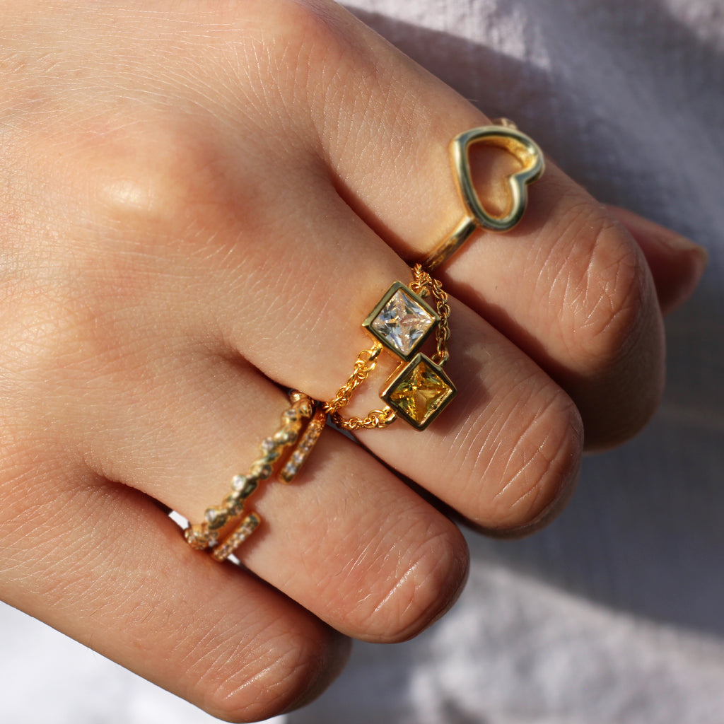 Clear Stone Square Chain Ring Mei Mi Studio