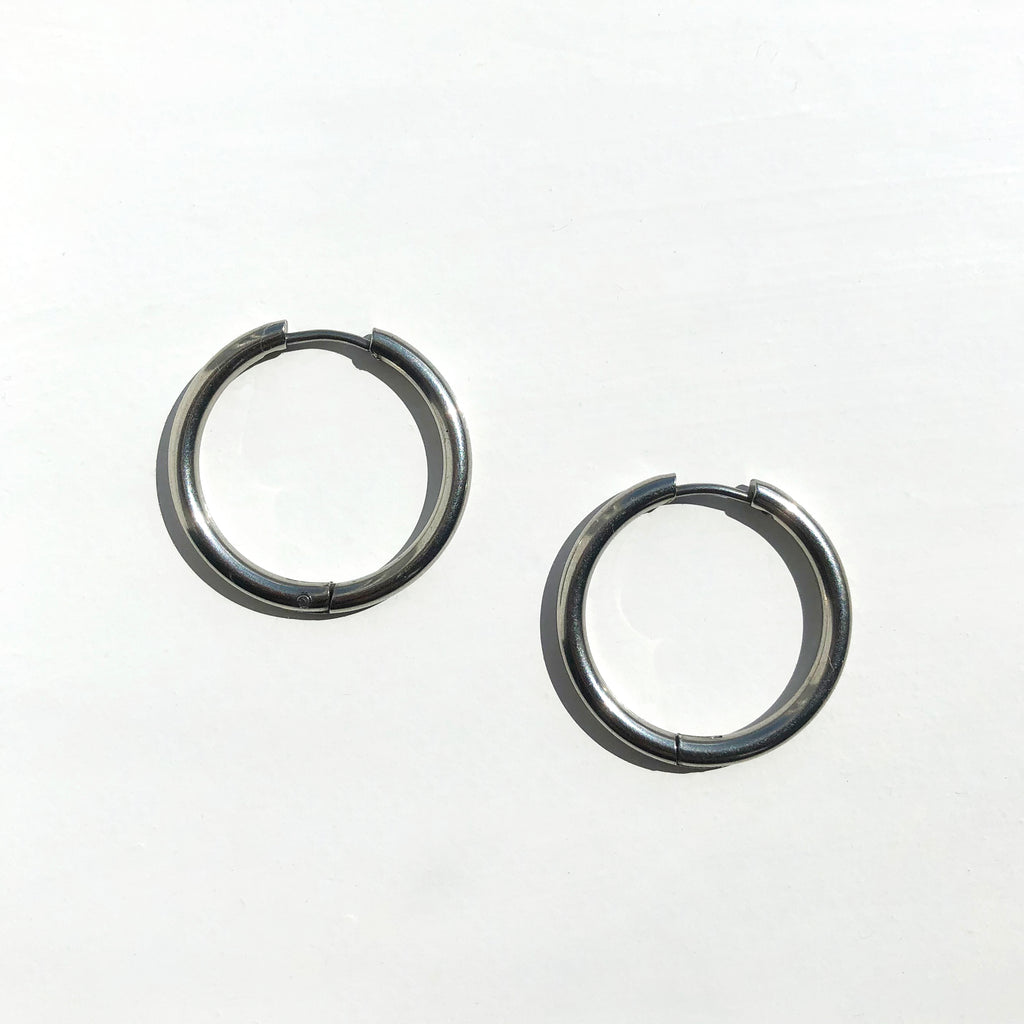 Silver Medium Tube Hoops
