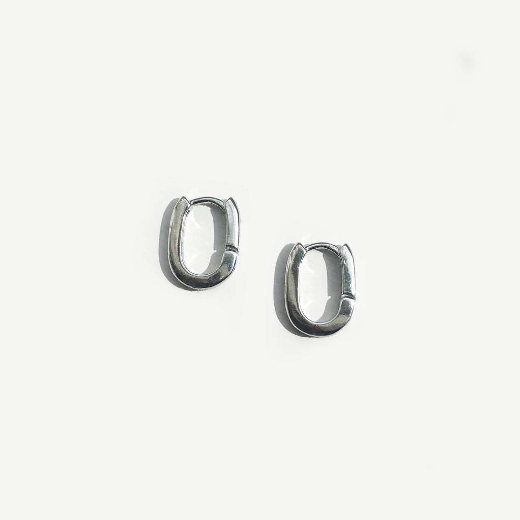 Silver Mini Oval Hoop Earrings - Sienna