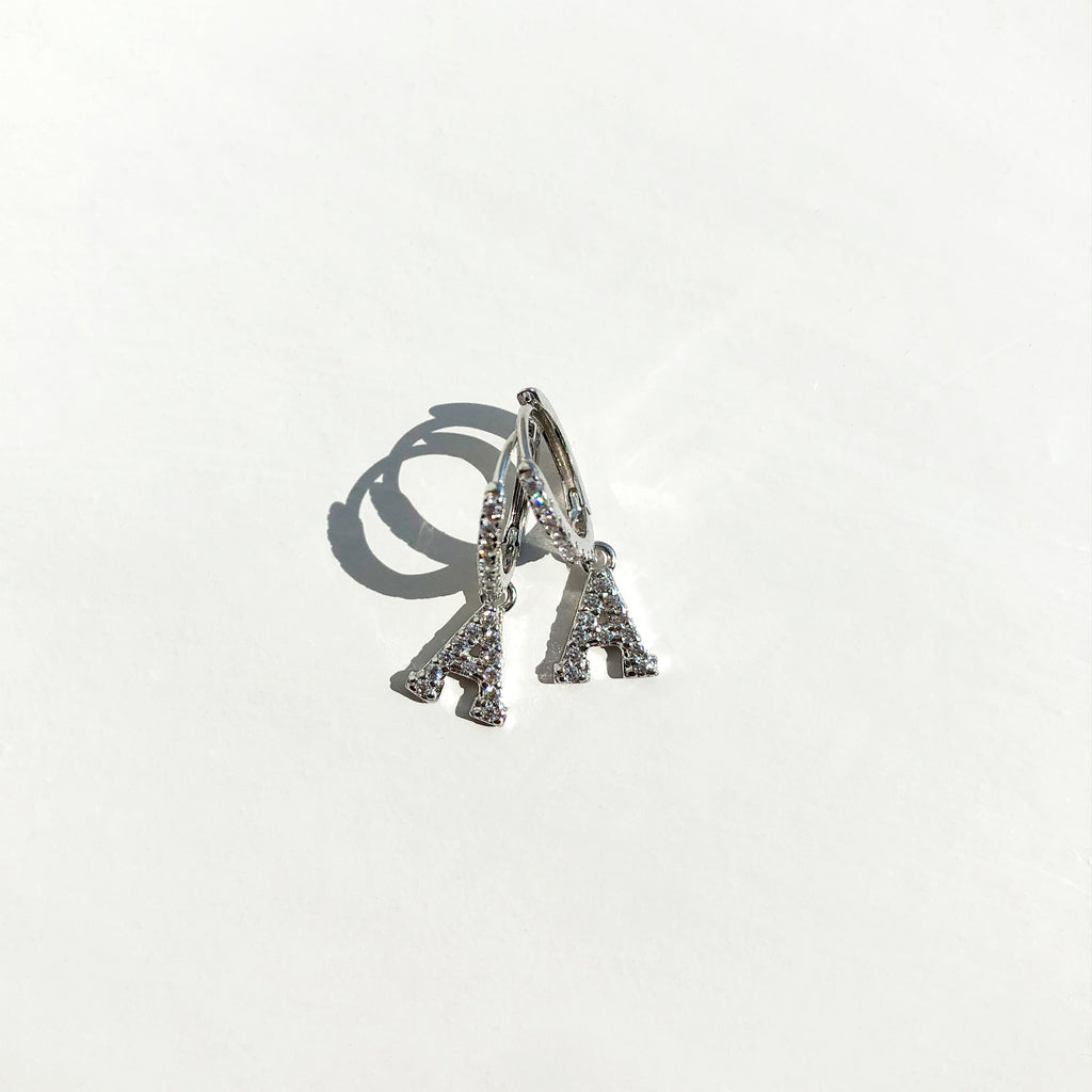 Sterling Silver Paved Initial Huggies