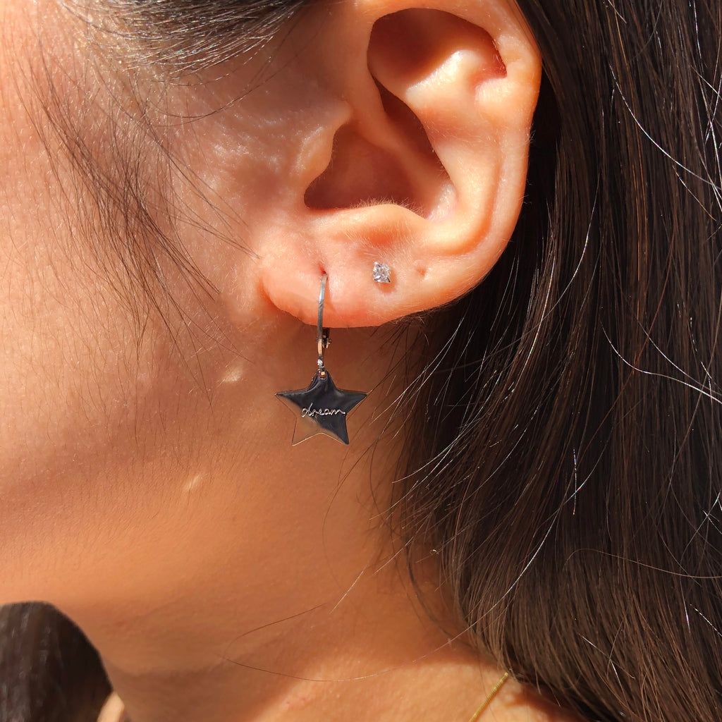 Silver Dream Star Hoop Earrings