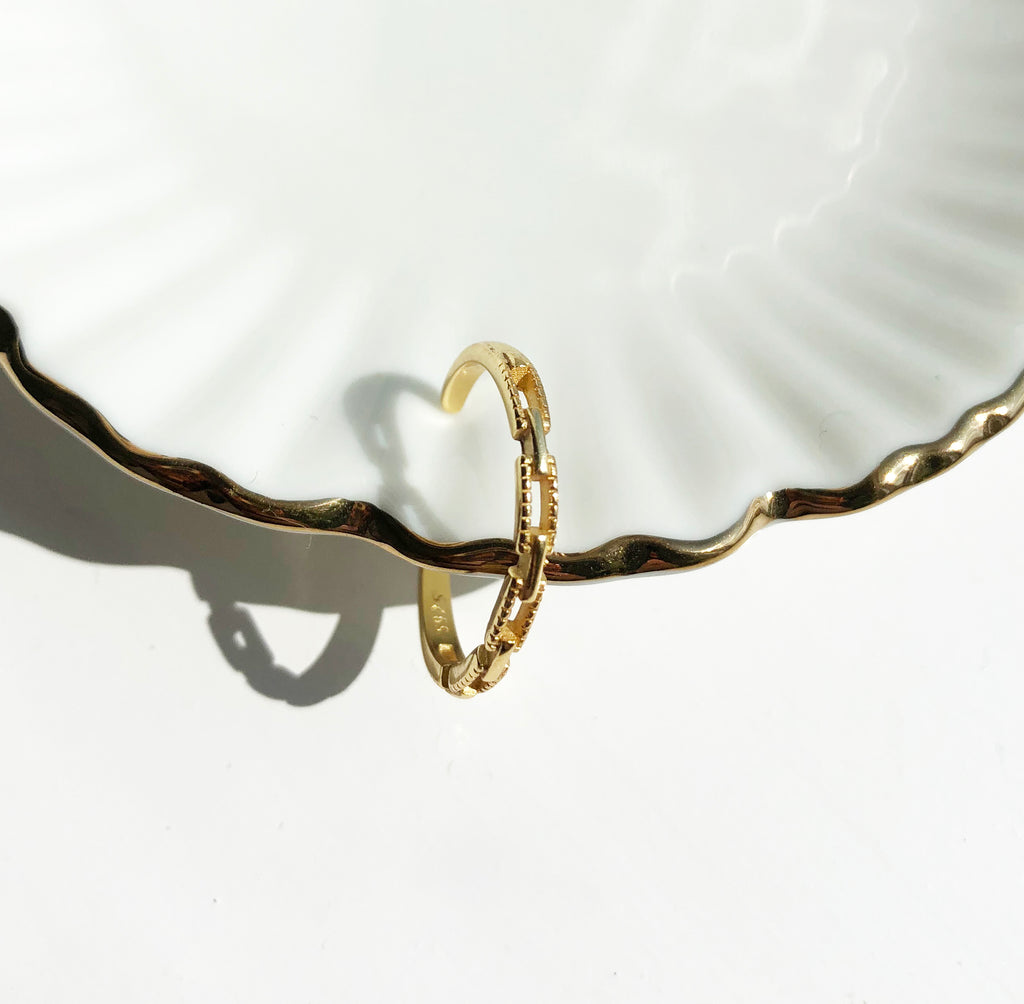 Gold Vermeil Dainty Chain Ring