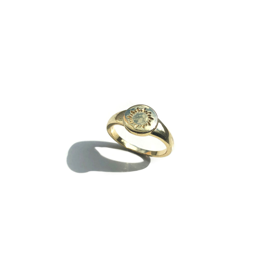 Gold Vermeil Sunbeam Signet Ring - Sol