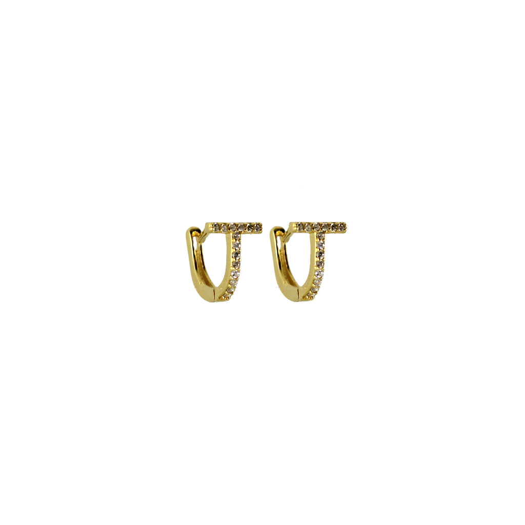 Gold Vermeil T Bar Cubic Zirconia Huggies