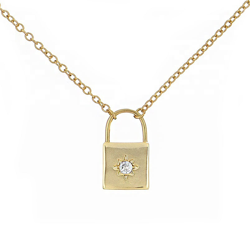Gold Vermeil Tiny Padlock Necklace Mei Mi Studio