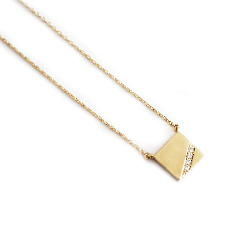 Rose Gold Plated Square Plate Necklace Mei Mi Studio