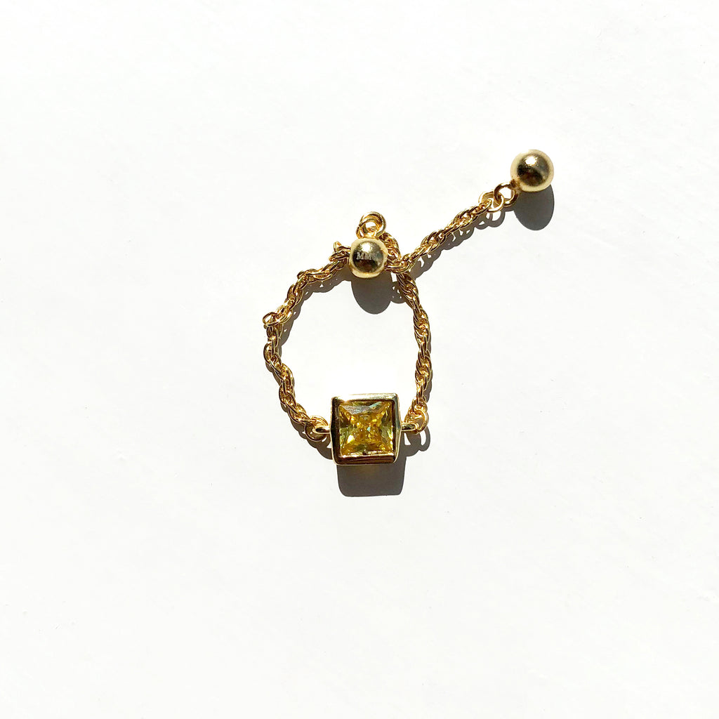 Gold Vermeil Yellow Stone Square Chain Ring - Sage