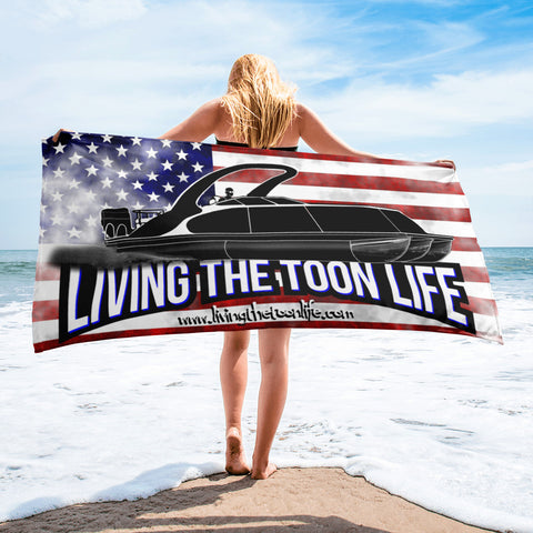 Living The Toon Life Beach Towel - Grunge/Flag/Shadow Pontoon