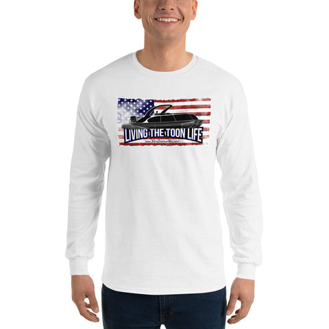 Living The Toon Life Long Sleeve T-Shirt - Grunge/Flag/Shadow Pontoon