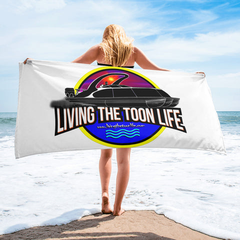 Living The Toon Life (White) Towel - Sunset Pontoon