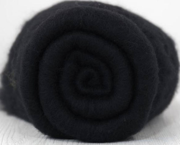 Black Extra Fine Merino Batt 3.5 Ounces