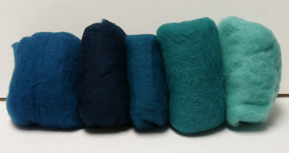 Carded Merino Collection Batting for Needle and Wet Felting 100 Grams (Caribbean)