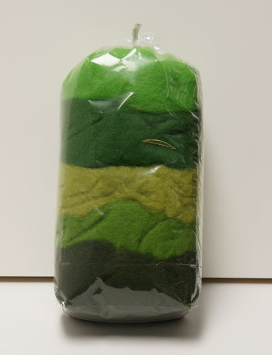 Carded Merino Collection Batting for Needle and Wet Felting 100 Grams (Green)