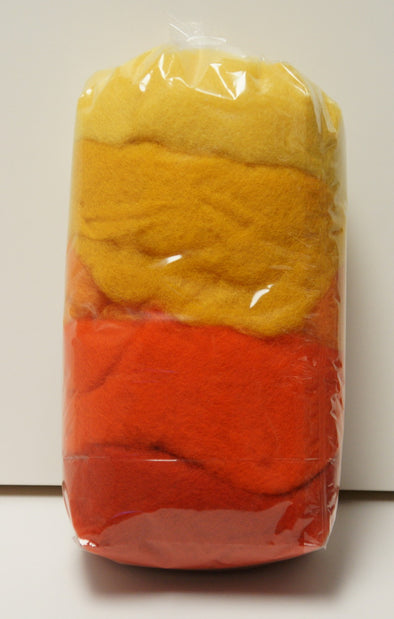 Carded Merino Collection Batting for Needle and Wet Felting 100 Grams (Orange)