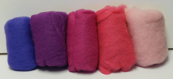 Carded Merino Collection Batting for Needle and Wet Felting 100 Grams (Pink Bouquet)