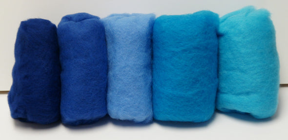 Carded Merino Collection Batting for Needle and Wet Felting 100 Grams (Blue)