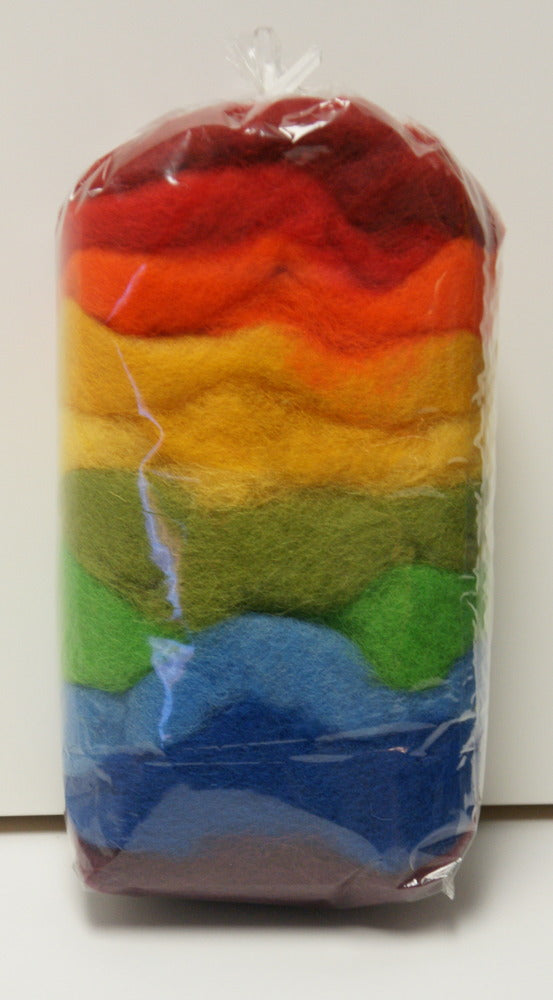 Carded Merino Collection Batting for Needle and Wet Felting 100 Grams (Box of Crayons)