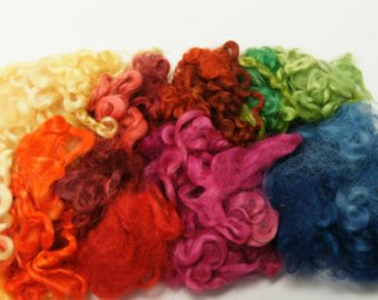 Assorted Colors Wensleydale Locks, 3-7 inches