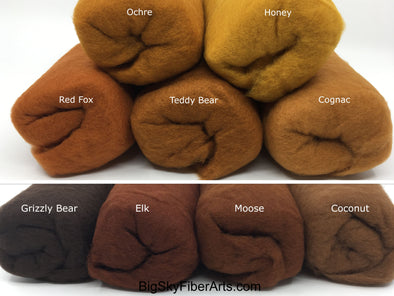 Brown Shades Carded 23 Micron Merino Batt