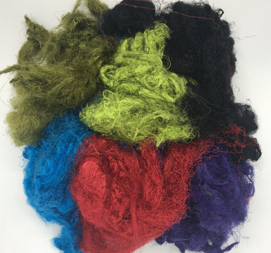 Multicolored Recycled Sari Silk Waste