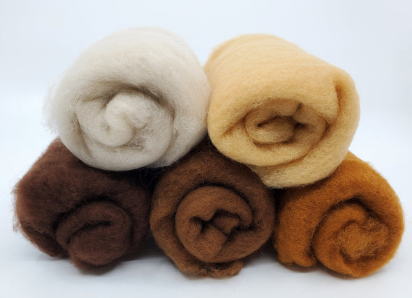 Dark Skin Tones Carded Collection for Felting