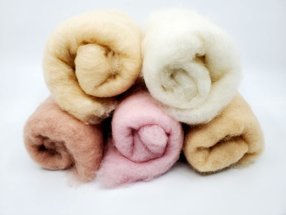 Light Skin Tone Carded Collection for Felting