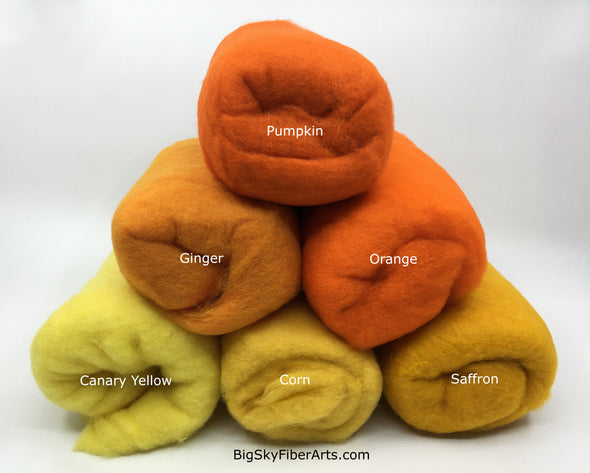 Yellow and Orange Shades Carded 23 Micron Merino Batt