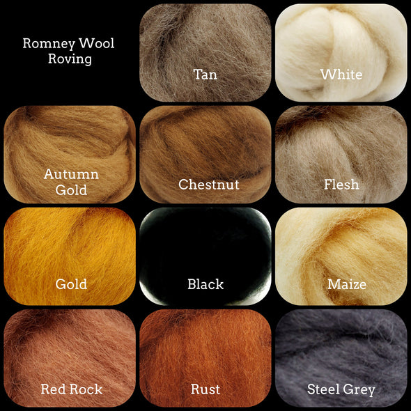 Romney Wool Roving One Ounce