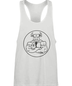 Muscle fit racer back vest - White