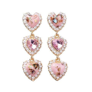 Rhinestone Hearts Drop Earrings