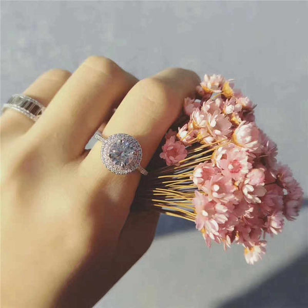 Round Pink Double Halo Ring