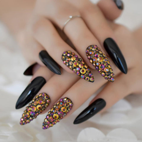 Rhinestone Accented Black Stiletto Nails