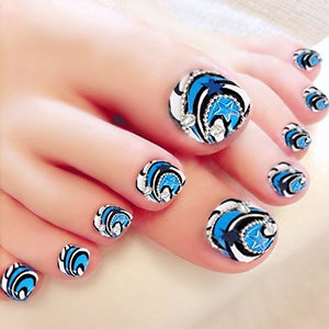 Blue Rhinestone Accented Press On Toenails