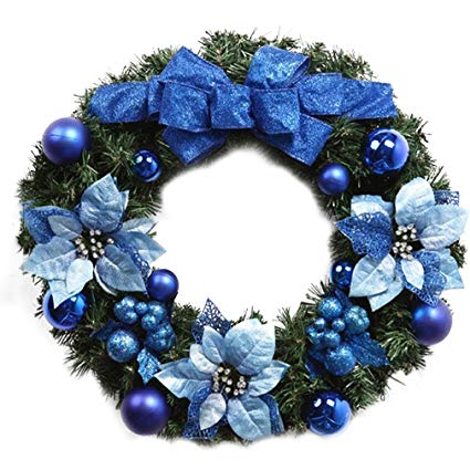 Glamorous Blue Floral Christmas Wreath